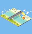 bridge and beach resort vector image vector image