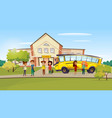 cartoon teen kids near school bus vector image vector image