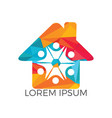 colorful house icon with abstract happy human logo vector image vector image