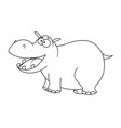 colorless cartoon hippopotamus vector image