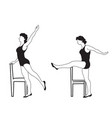 elegant women silhouettes doing fitness exercises vector image