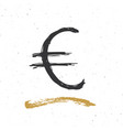 euro sign icon brush lettering grunge vector image