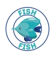 Fish over seal stamp Sea life design vector image