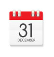 flat calendar icon of 31 december vector image vector image