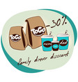 flat family dinner discount concept vector image vector image