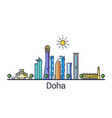 flat line doha banner vector image vector image