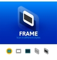 Frame icon in different style vector image vector image