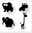 Funny cartoon animals silhouettes vector image vector image
