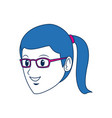 girl student face cartoon people head vector image vector image