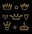 gold crown set isolated on black background vector image