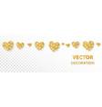 golden hearts frame seamless border vector image