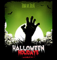 halloween background with undead zombie hand vector image