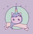 head cute little unicorn bawith ribbon vector image vector image