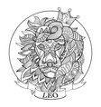 lion zodiac sign coloring book vector image vector image