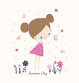 little girl with butterflies and flowers cartoon vector image vector image