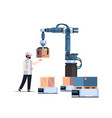 man engineer controlling robotic hand putting
