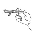 metaphor hand using syringe with the gun vector image