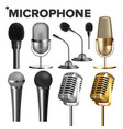 microphone set audio equipment music icon vector image