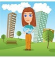 mother holding newborn baby in the park vector image vector image