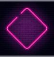 neon sign in rhombus shape bright neon light vector image vector image