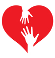 parent and bahands on heart vector image vector image