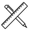 pencil and ruler crossed line icon outline sign vector image