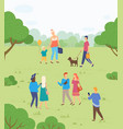 people walking in park outdoor activity on nature vector image vector image