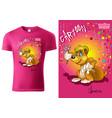 pink t-shirt design with cartoon bear