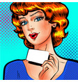 pop art beautiful woman with blank card vector image vector image