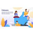 popularity in social network flat banner vector image vector image