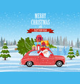 retro car with christmas tree vector image vector image