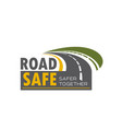 road safety icon design with highway turn vector image vector image