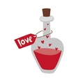 Romantic love potion in heart shaped glass flask
