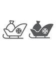 santa sleigh line and glyph icon sledge winter vector image