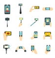 Selfie icons set flat style vector image vector image