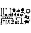 set black garden tools vector image vector image