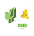 set of cartoon money currency images of green vector image vector image