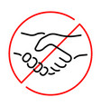 simple linear icon a ban on handshake vector image vector image