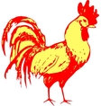 Traditional yellow gold rooster on red background vector image