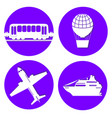 transport types flat papercut style circle vector image vector image