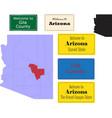 Us arizona state gila county map and road sign