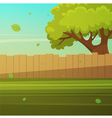 Wooden fence with tree vector image vector image