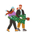 young couple carrying decorated xmas fir tree vector image vector image