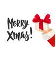 christmas card merry xmas text santa claus hand vector image