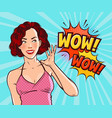 beautiful girl or young woman in delight pop art vector image