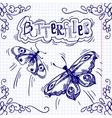 Butterflies doodle ornament vector image