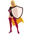 superheroine holding shield vector image