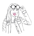 Girl With Glasses Outline vector image