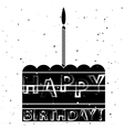 Cake and Candle Silhouette Birthday Banner vector image