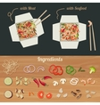 Chinese noodles with ingredients vector image